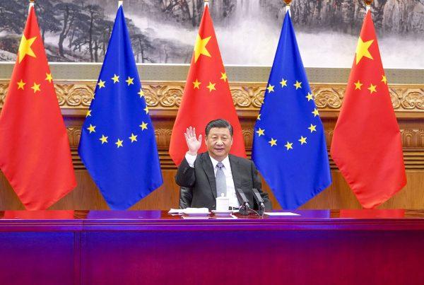 Chinese President Xi Jinping meets with German Chancellor Angela Merkel, French President Emmanuel Macron, President of the European Council Charles Michel and President of the European Commission Ursula von der Leyen via video link in Beijing